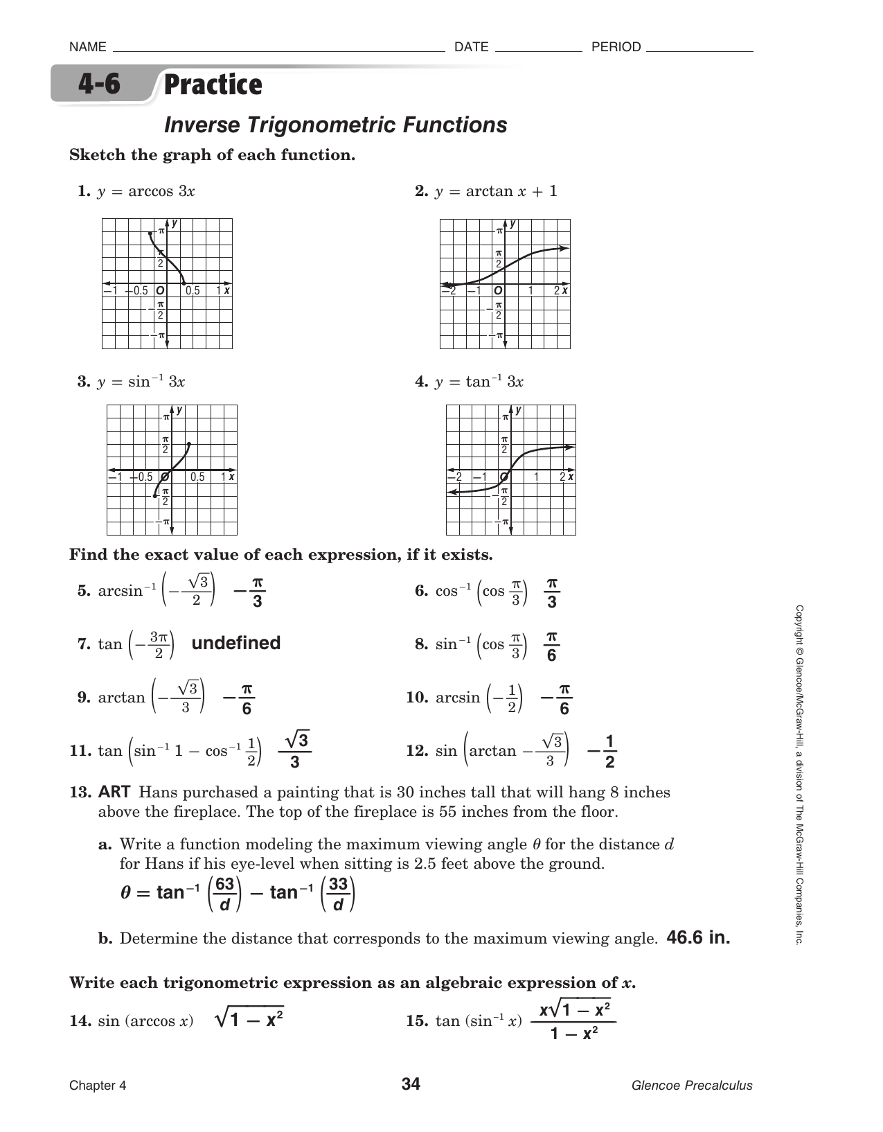 Glencoe Precalculus Worksheet Answers