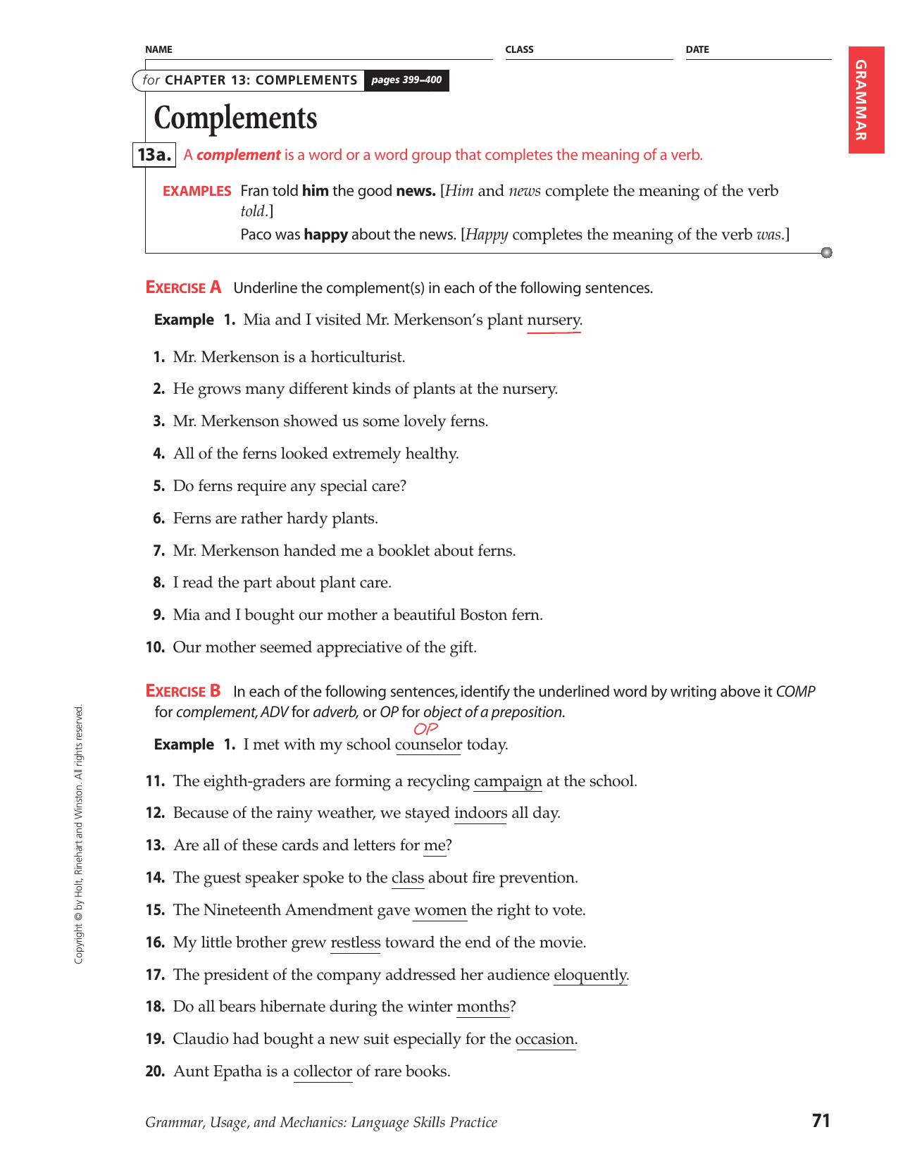 Holt Rinehart And Winston English Worksheet Answers