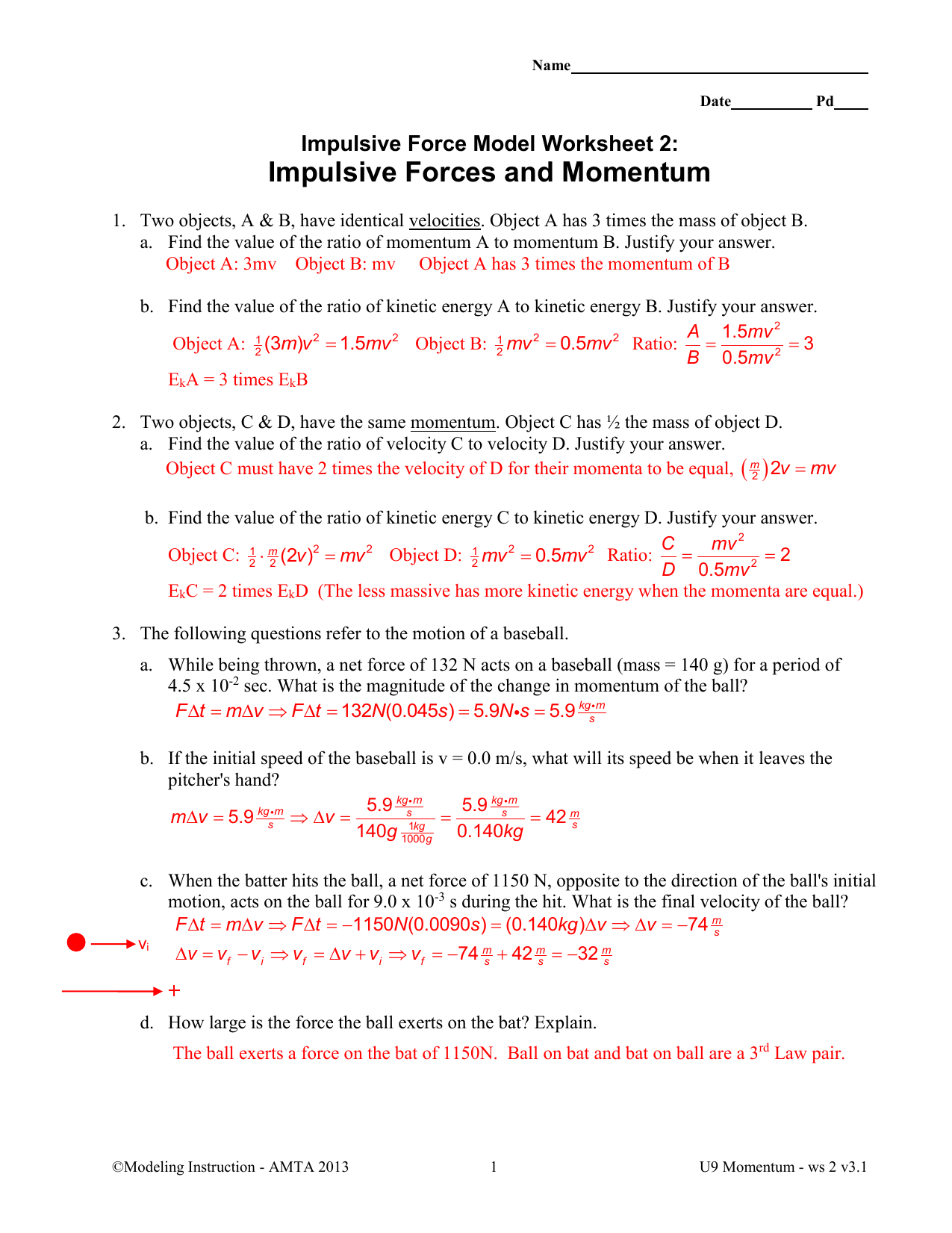 Impulsive Force Model Worksheet 3 Conservation Of Momentum