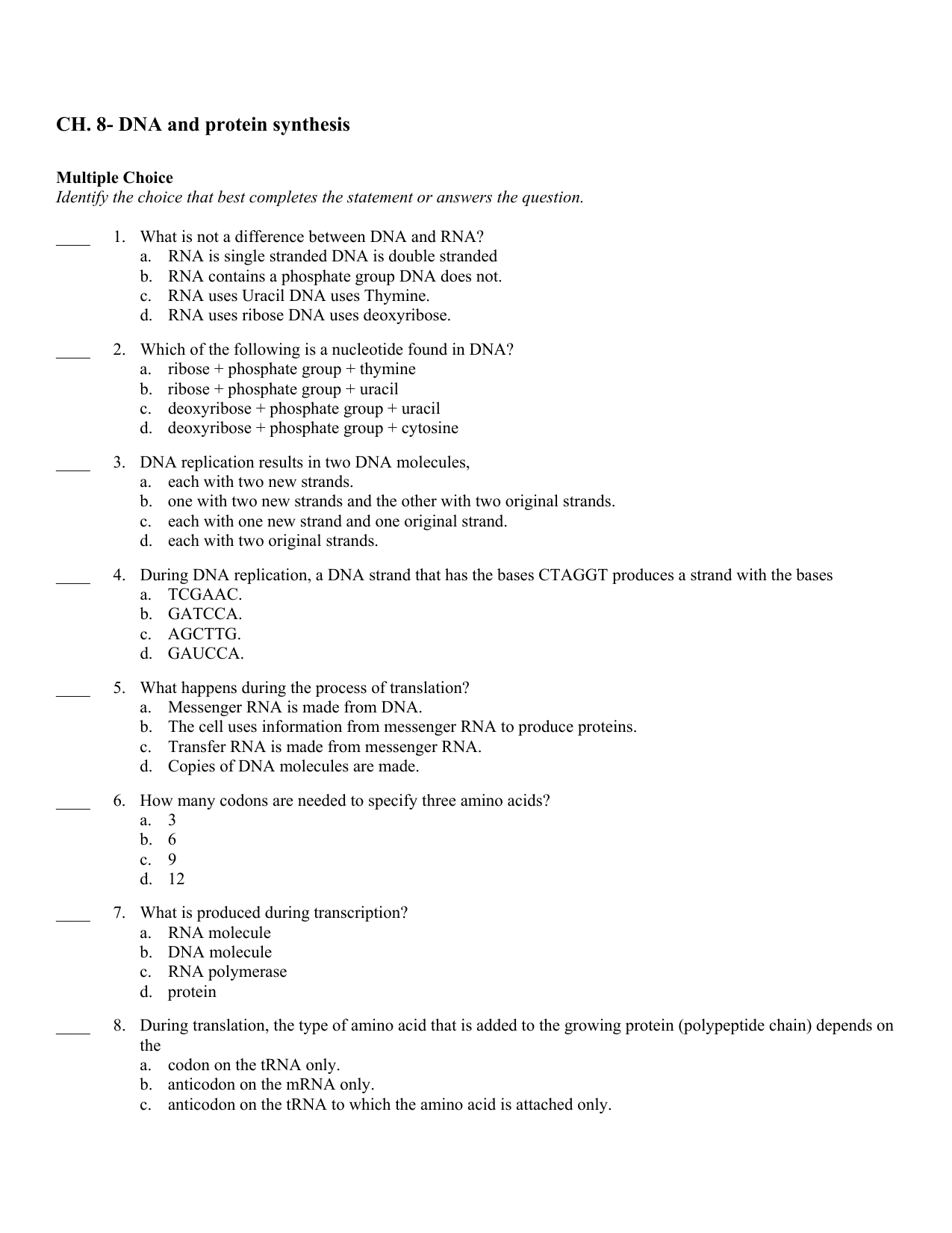 Chapter 8 From Dna To Proteins Vocabulary Answers