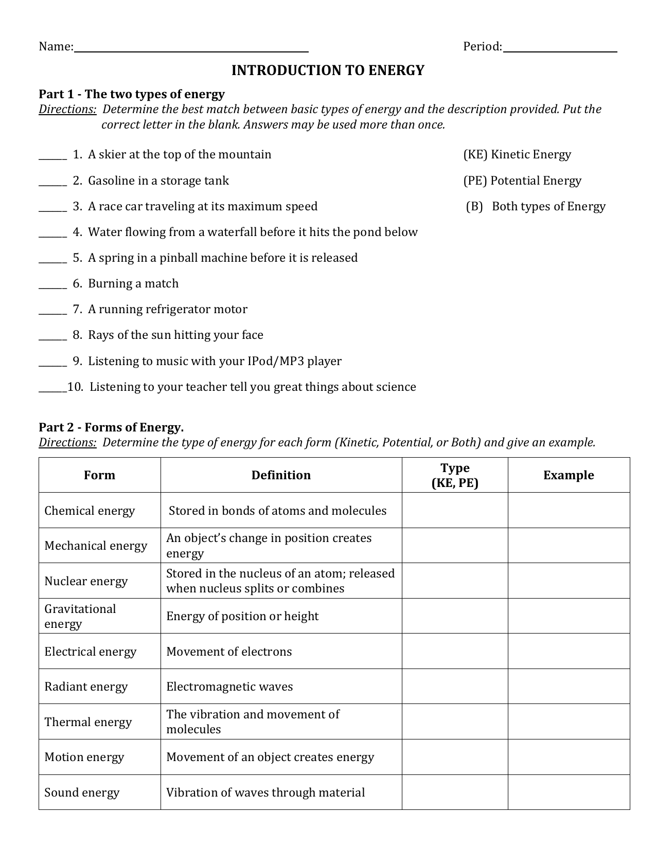 Introduction To Energy Worksheet