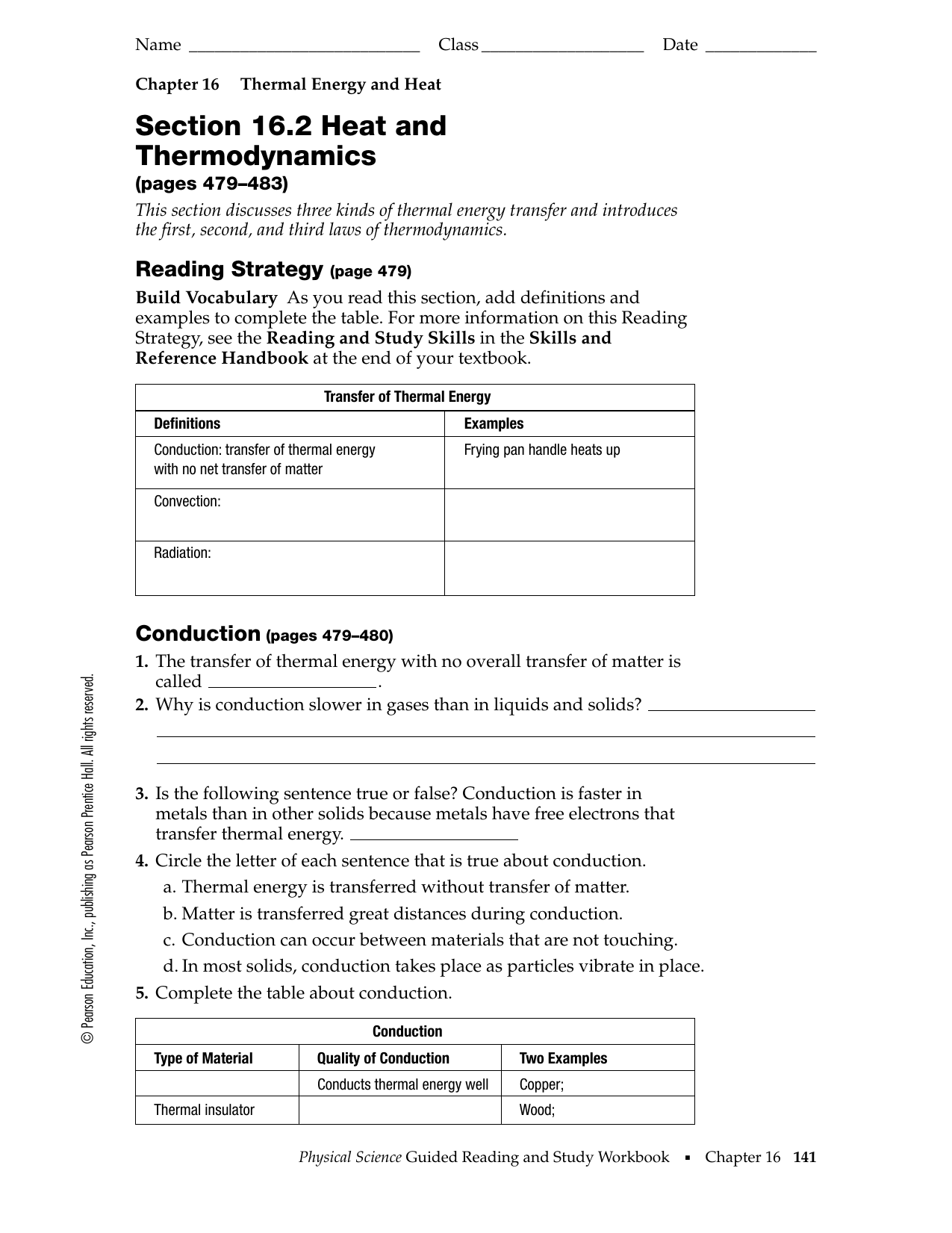 Thermal Energy And Heat Worksheet Answers