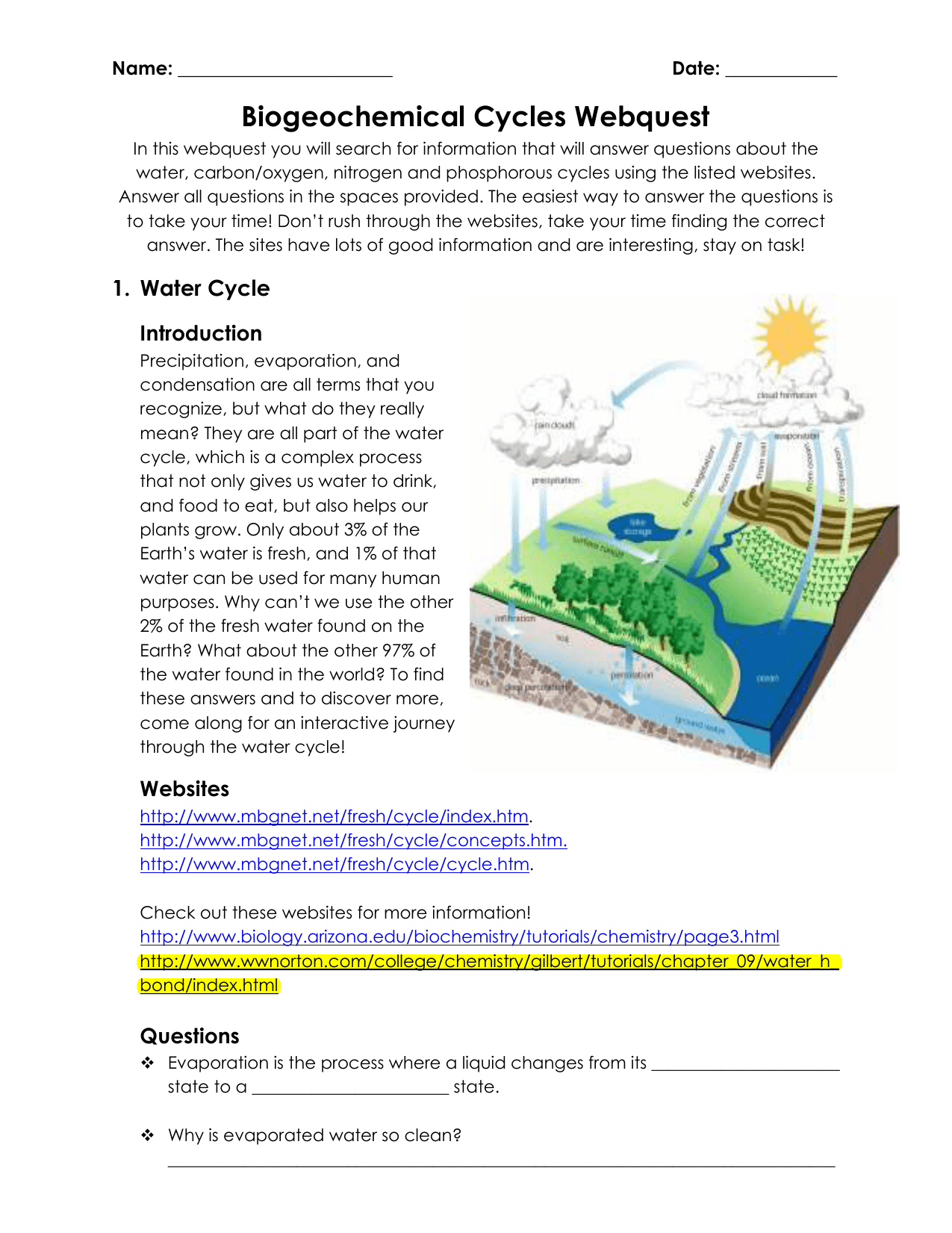 Water Carbon And Nitrogen Cycle Worksheet Color Sheet Answers Quizlet