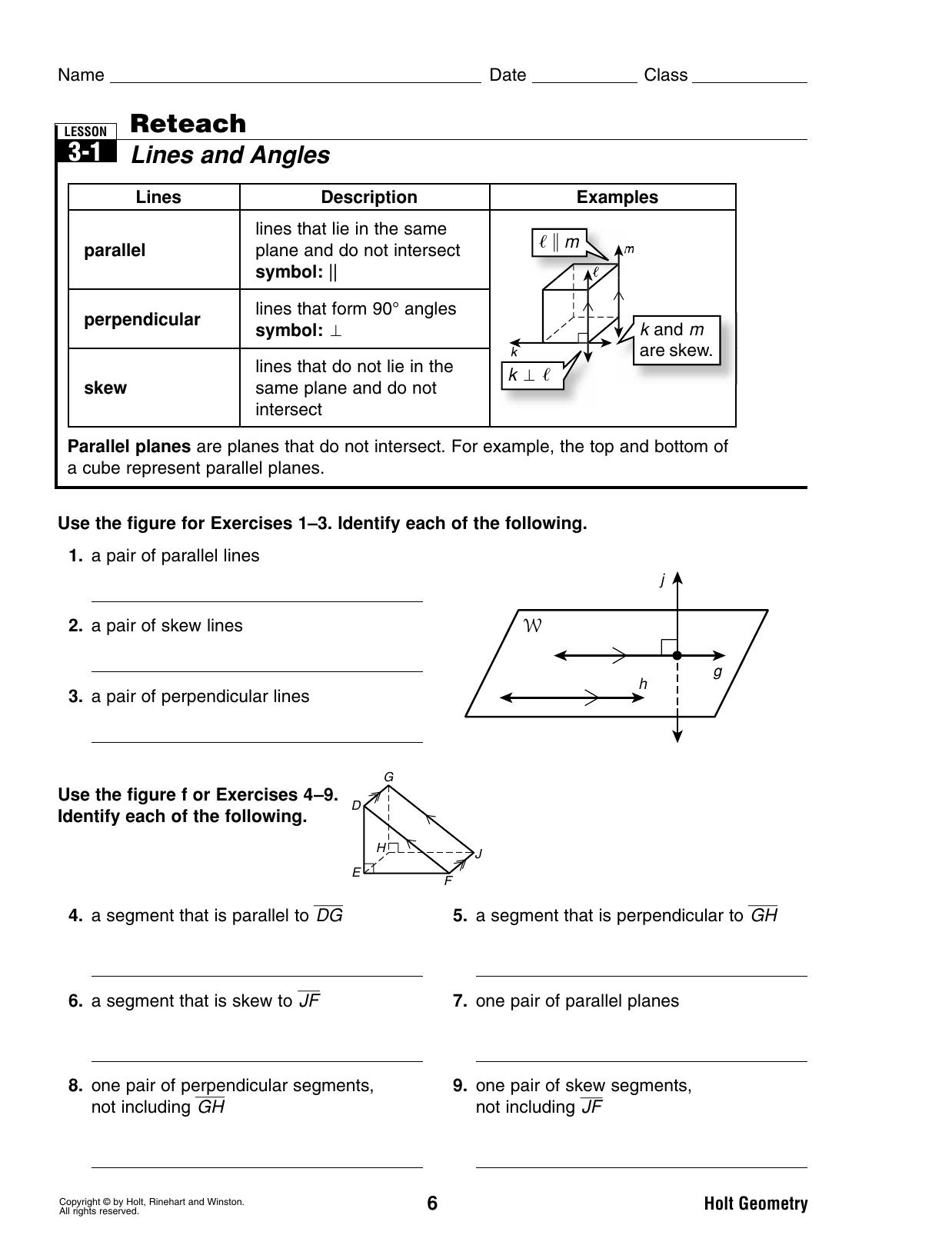 Bestseller Holt Geometry Worksheet Answers Reteach Lesson