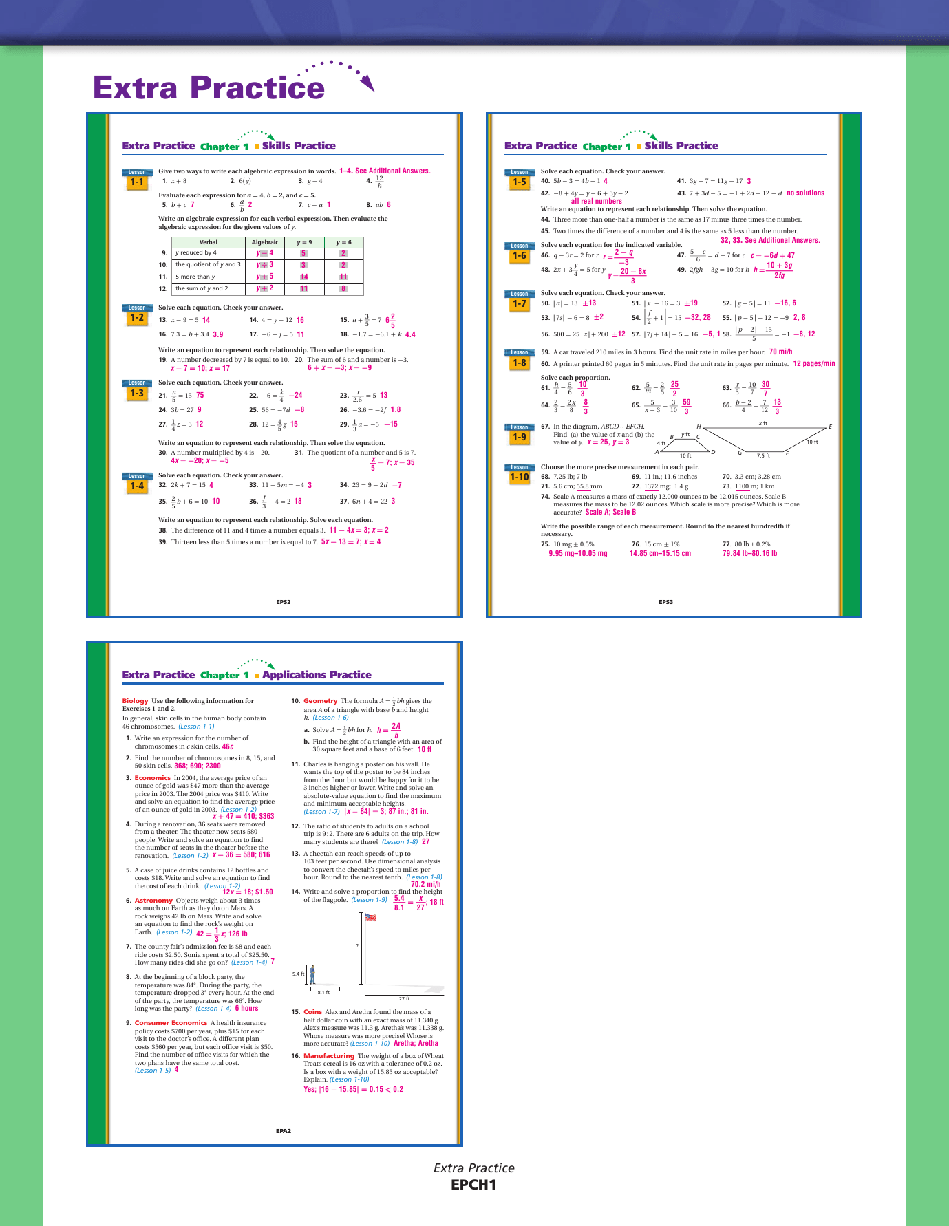 84 Practice A Geometry Answers