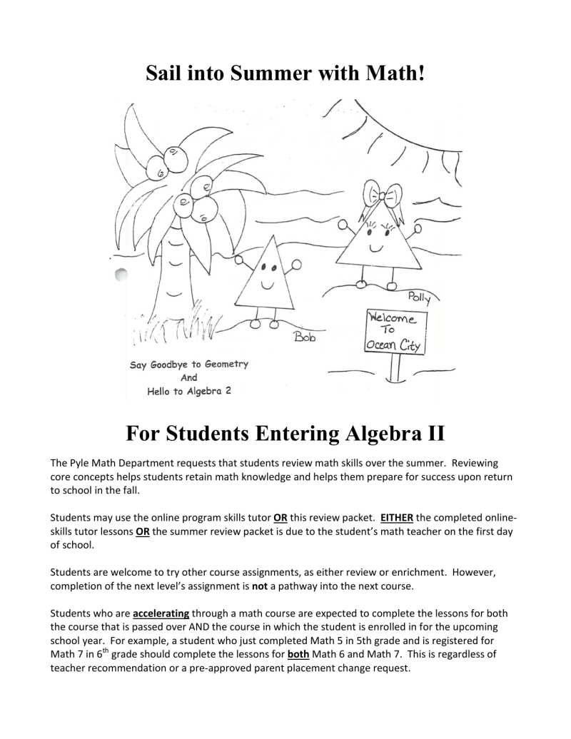 Algebra 2 Review Packet