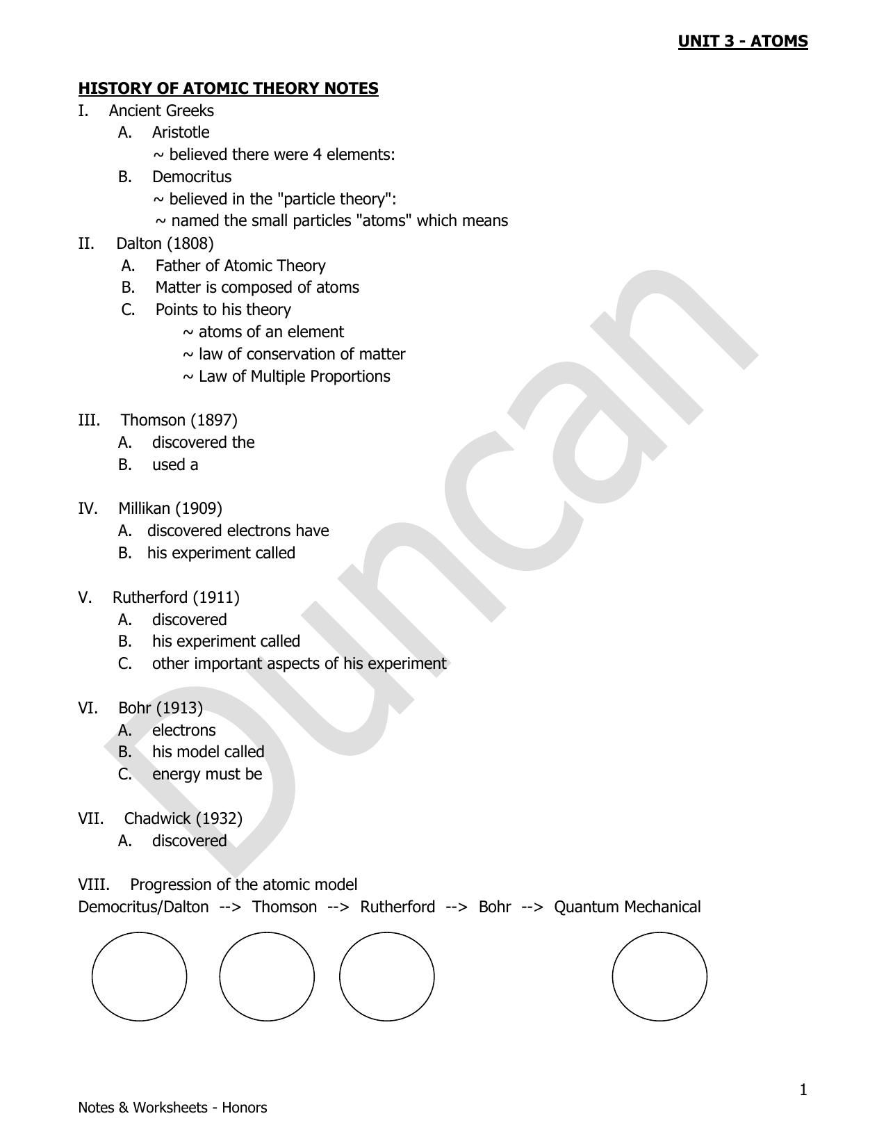 History Of Atomic Theory Worksheet