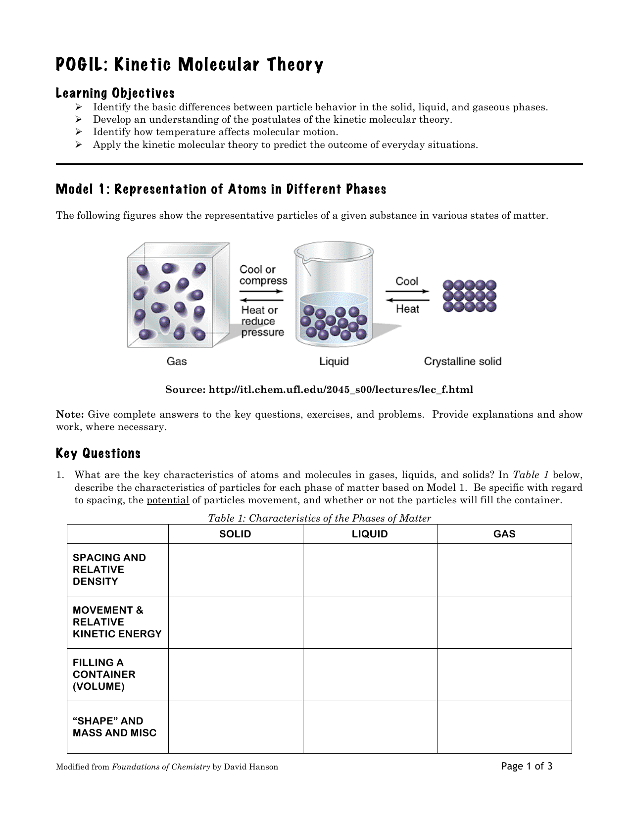 Kinetic Molecular Theory Worksheet Doc
