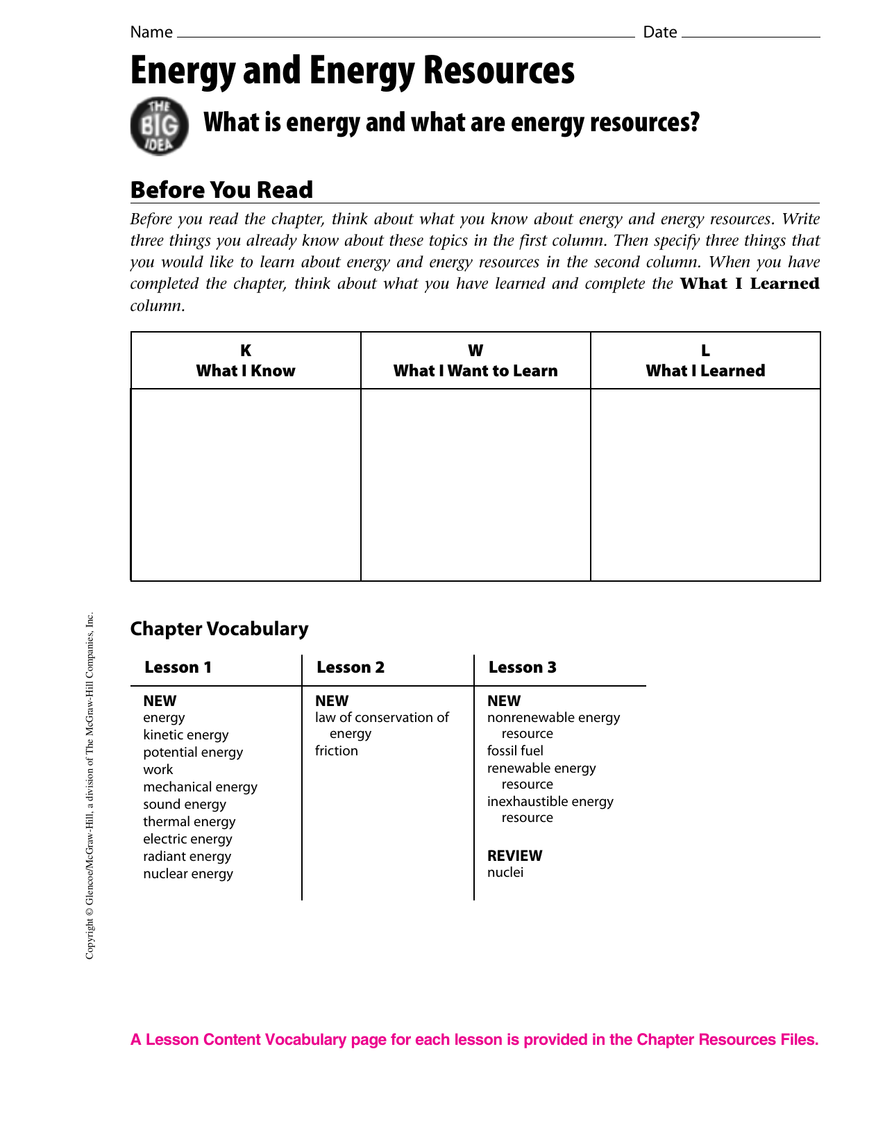 Energy Resources Worksheet Answers