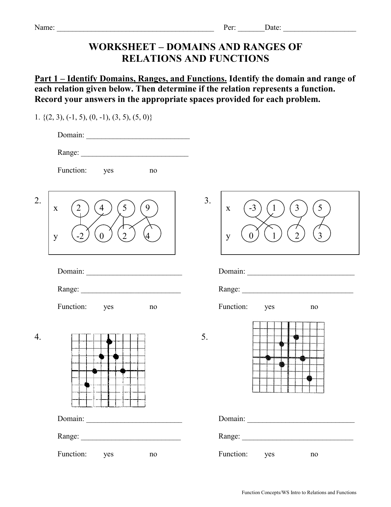 Printables Of Relations And Functions Worksheet Answers