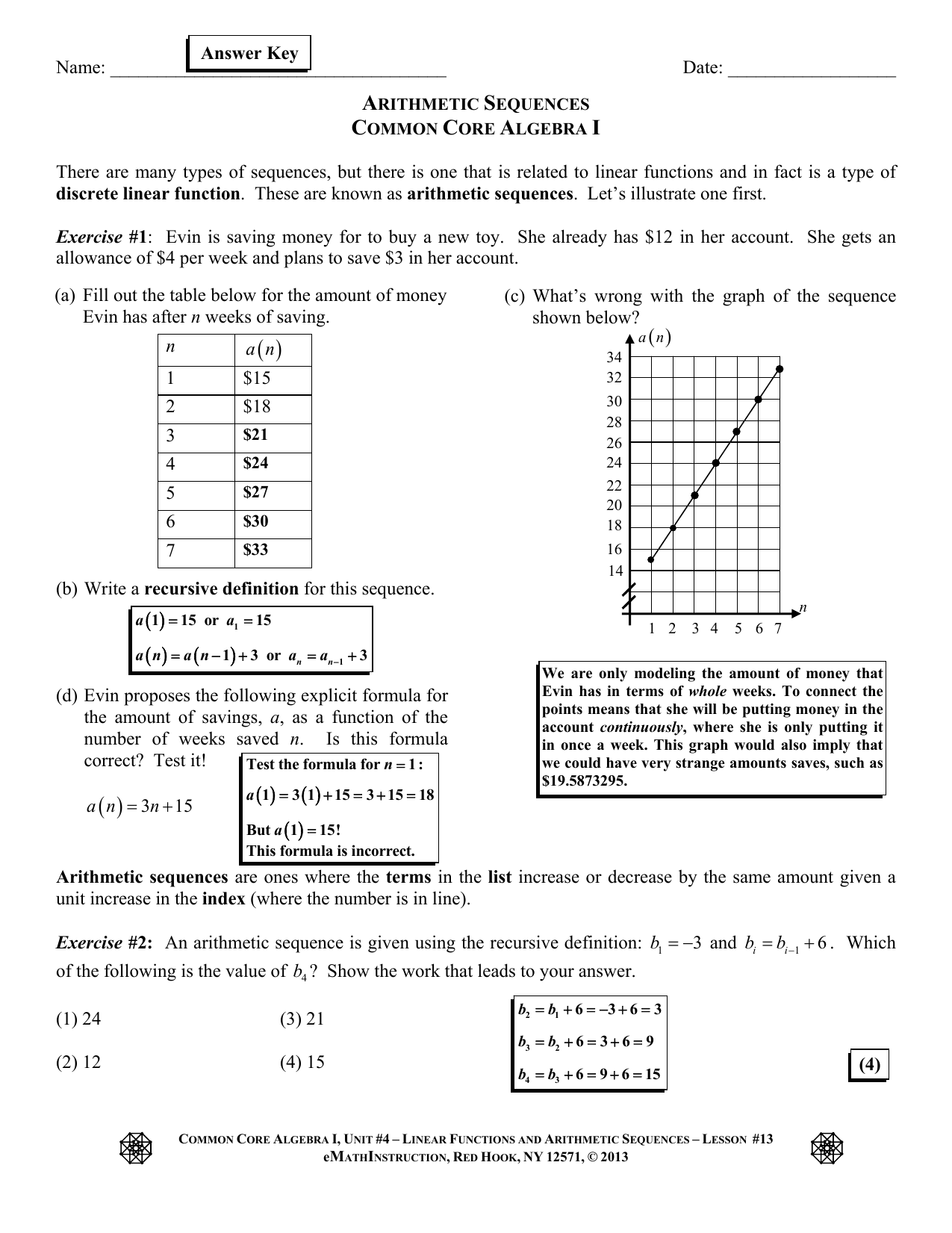 Emathinstruction Algebra 1 Homework Answer Key