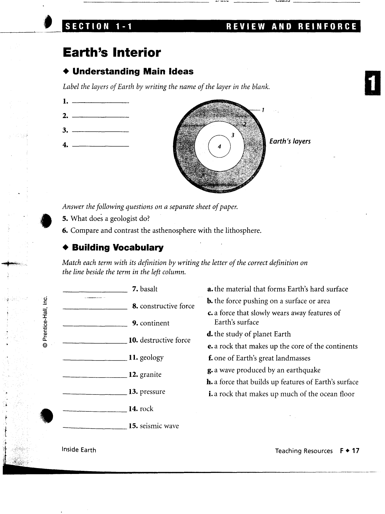 Earth S Interior Worksheet Answers Key