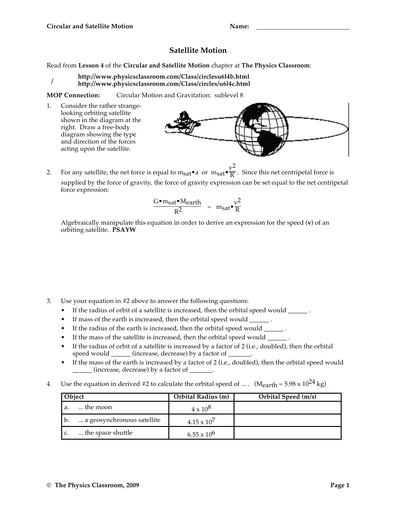 Circular And Satellite Motion Worksheet Answers