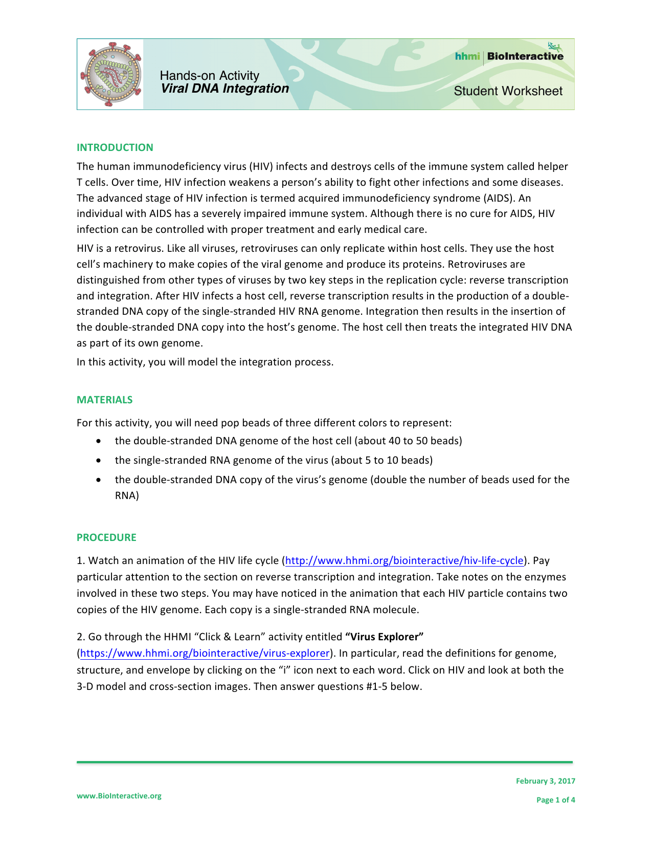 Biointeractive Student Worksheet Answers