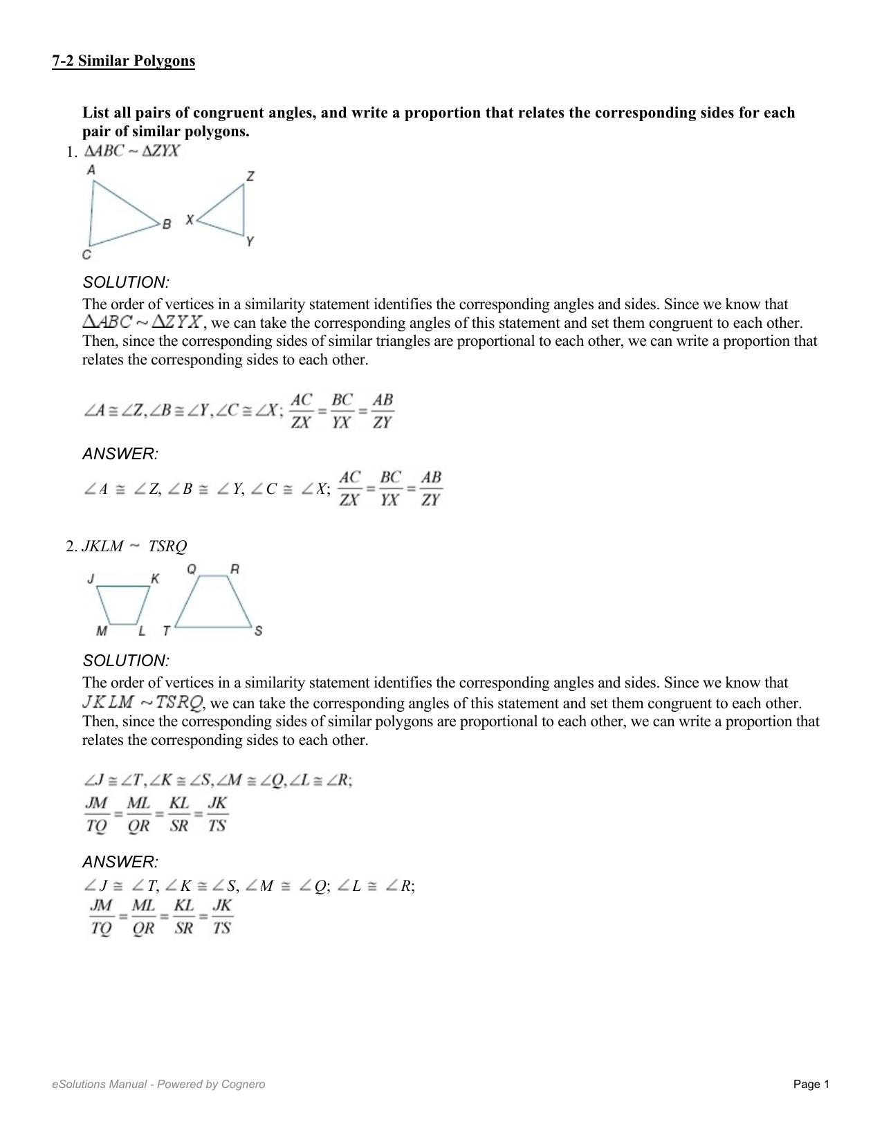 7 2 Similar Polygons Worksheet Kutasoftware Geometry