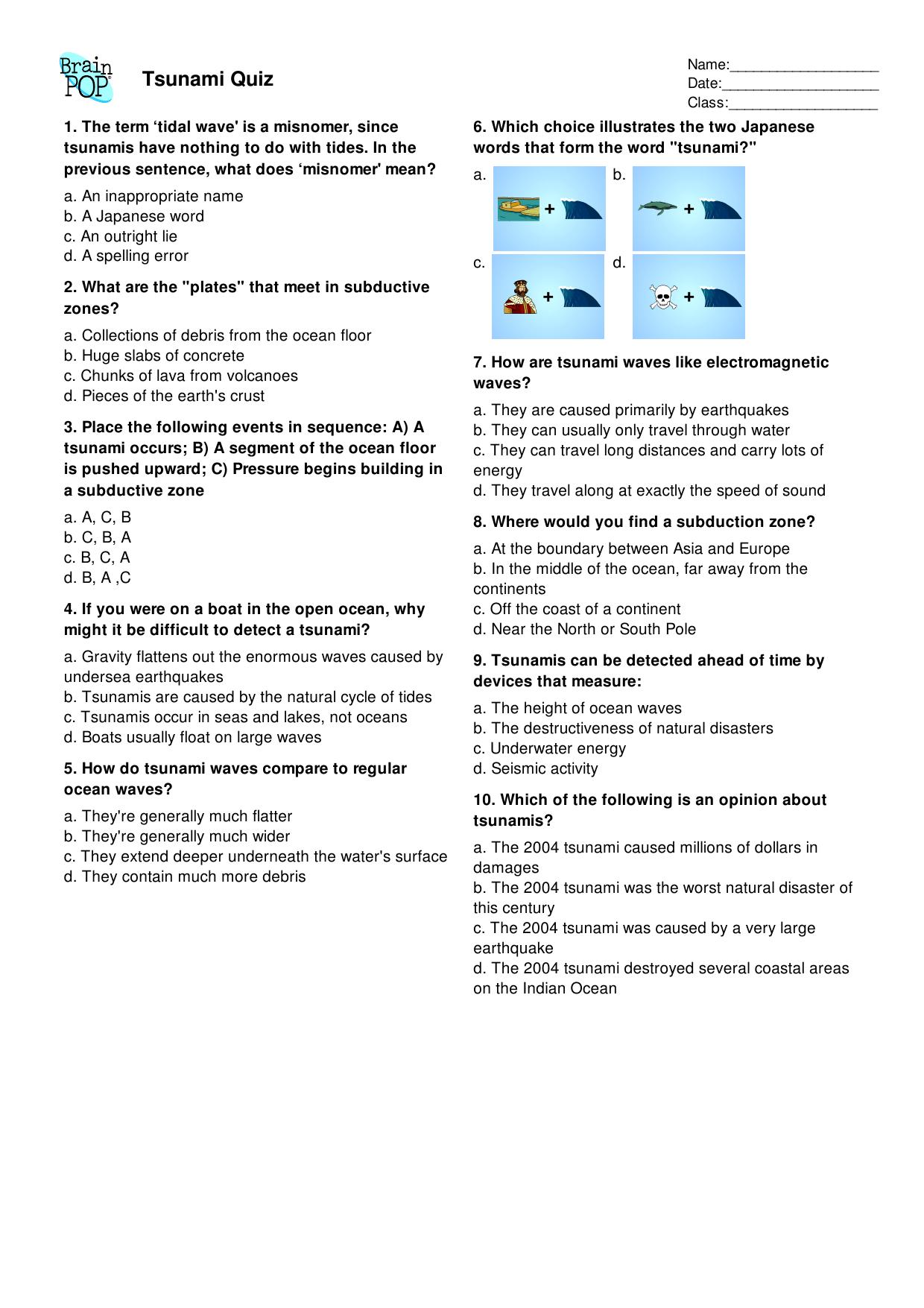 Cipir6 Tsunami Quiz Questions
