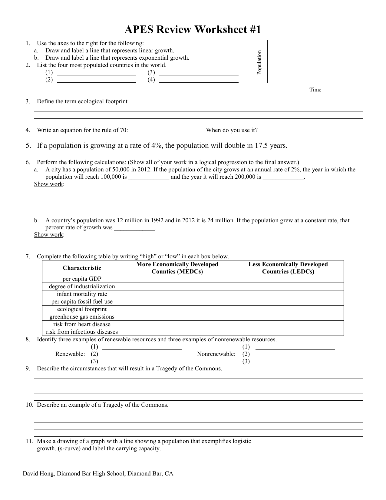 Ecology Review Worksheet 1 Answers