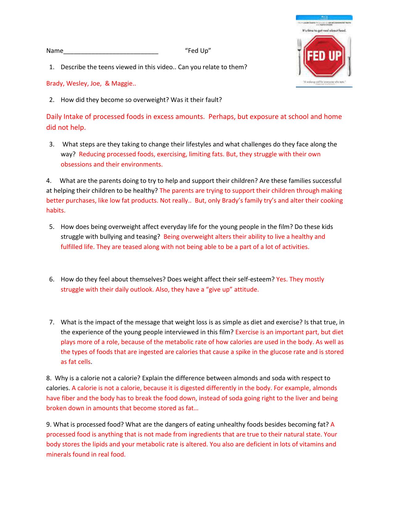 Bill Nye Nutrition Quiz Answer Key