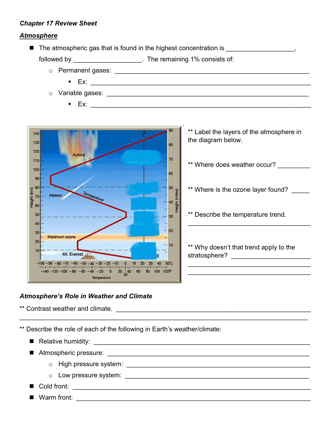 33 Label The Layers Of The Atmosphere