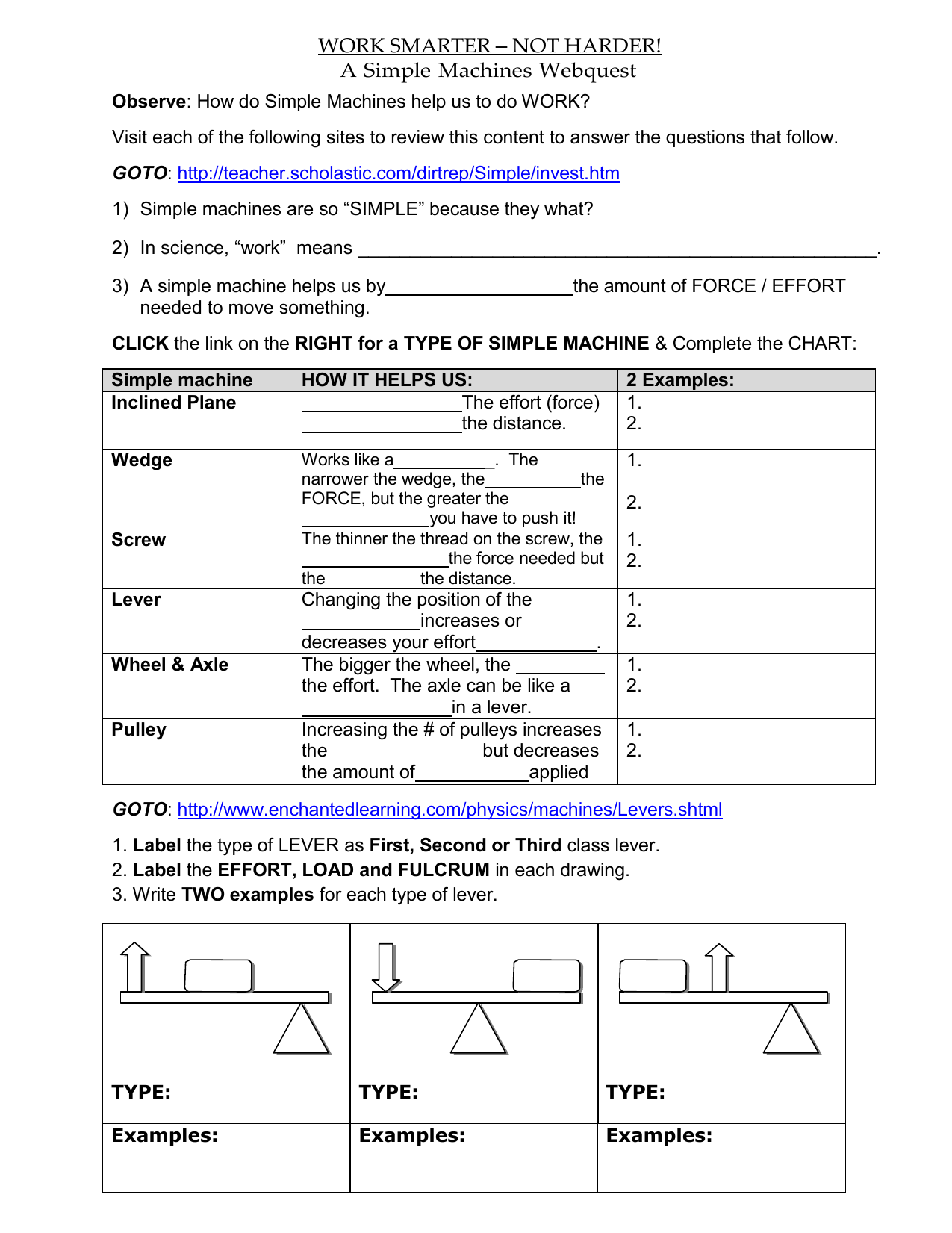 Work And Simple Machines Worksheet Answers