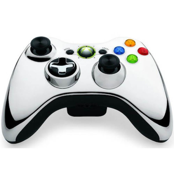 Xbox 360 Chrome Wireless Controller Silver Games Accessories