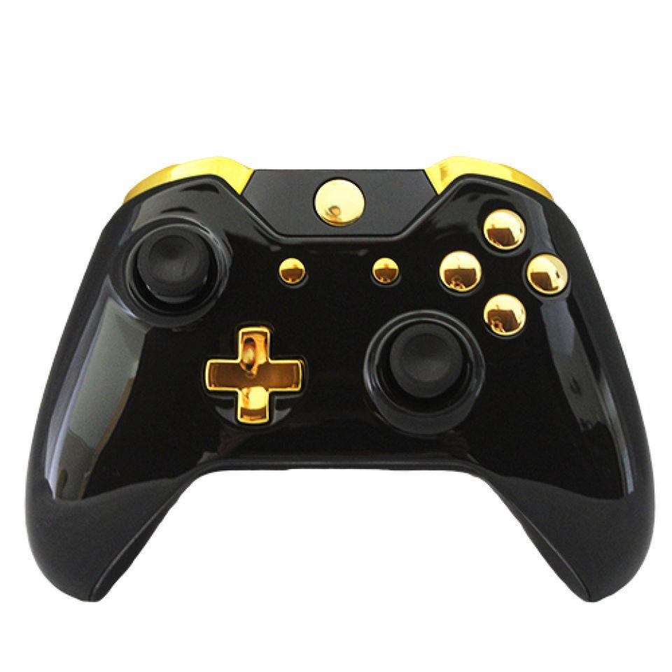 Xbox One Wireless Custom Controller Gold On Gloss Black Games Accessories Zavvi