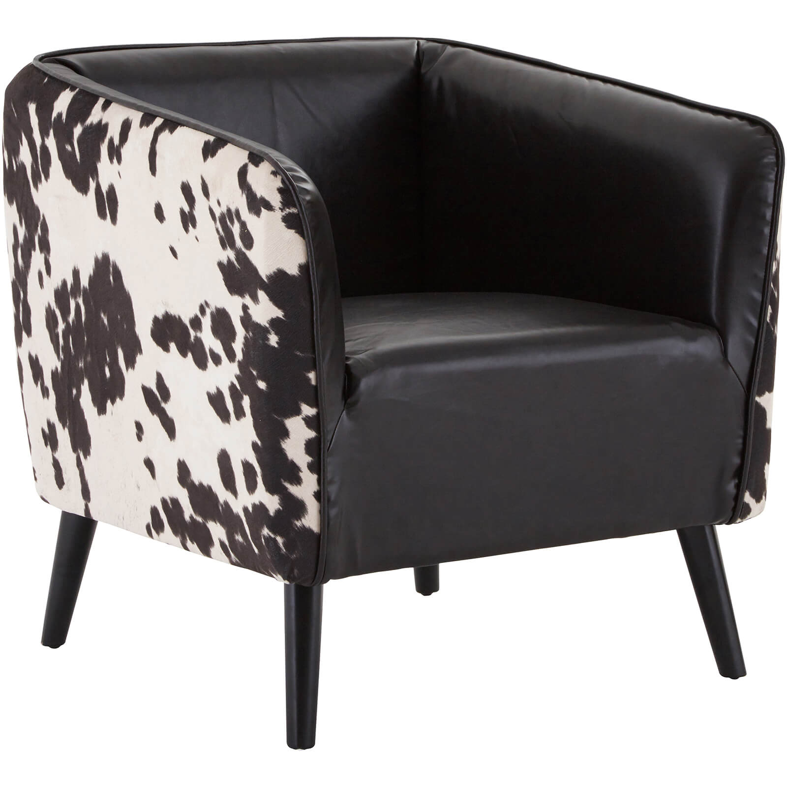 Fifty Five South Rodeo Black Leather Effect Chair Black White Cowhide
