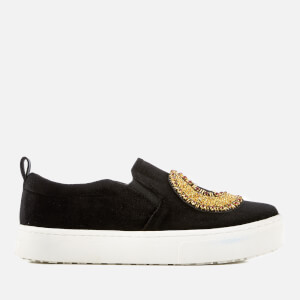 Sam Edelman Women's Leila 2 Velvet Flatform Slip On Trainers - Black