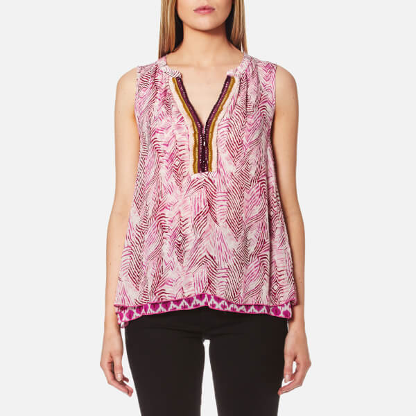 Maison Scotch Women's Sleeveless Mixed Print Beach Top - Multi