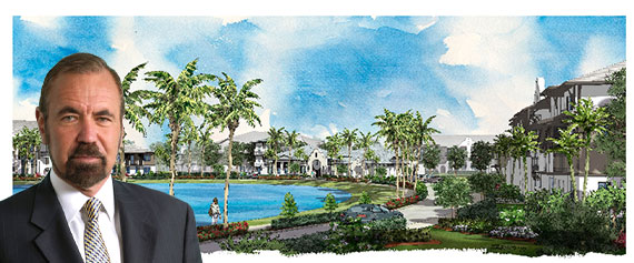 Rendering of the 390-unit community (Inset: Related Group CEO Jorge Perez)