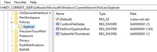Windows 10 Registry Hacks confirm delete