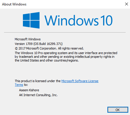 WIndows 10 registered owner
