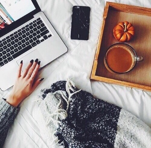 autumn, bed, coffee, cold, fall