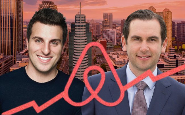Airbnb CEO Brian Chesky and Jersey City Mayor Steve Fulop (Credit: Twitter, iStock, Airbnb)