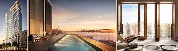 From left: 551 West 21st Street, the rooftop pool at 551 West 21st Street and a rendering of 221 West 77th Street