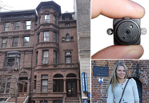 Clockwise: 7 West 82nd Street on the Upper West Side, a spy camera and Aksana Kuzmitskaya