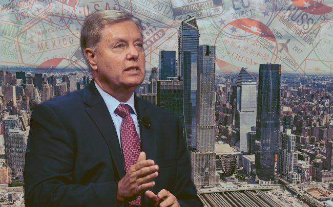 Sen. Lindsey Graham and the Hudson Yards development (Credit: Getty Images, iStock)