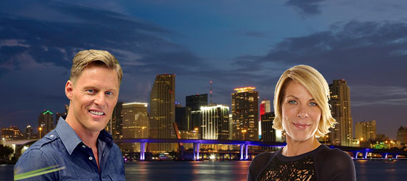 Downtown Miami. Inset: Neal Schafers and Mika Mattingly