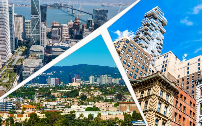 Clockwise from top left: San Francisco's Rincon Hill, New York City's TriBeCa and Los Angeles' Westwood (Credit: iStock)