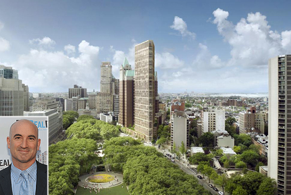 Rendering of 280 Cadman Plaza West in Brooklyn Heights (credit: Marvel Architects) (inset: David Kramer)