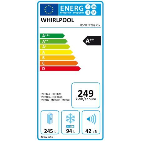 Combina frigorifica Whirlpool BSNF 9782 OX, 339 l, Clasa A++, Full No Frost, 6th Sense, H 201 cm, Inox