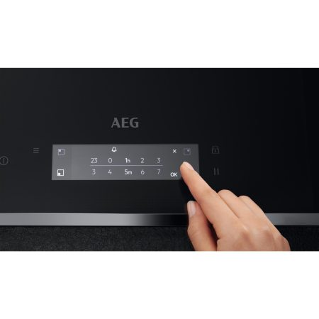 Plita incorporabila AEG IAE84851FB, Inductie, 4 zone de gatit, Touch control, Booster, Timer, Conectivitate hota, 80 cm, Negru