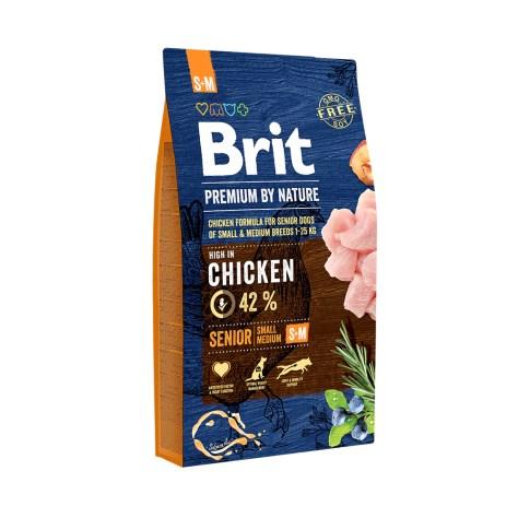 Hrana uscata pentru caini Brit Premium, Senior S & M, 8 Kg