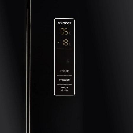 Combina frigorifica French Door Heinner HCFD-H300GBKA+, 300 l, Full No Frost, Clasa A+, Display Touch, H 186 cm, Sticla neagra
