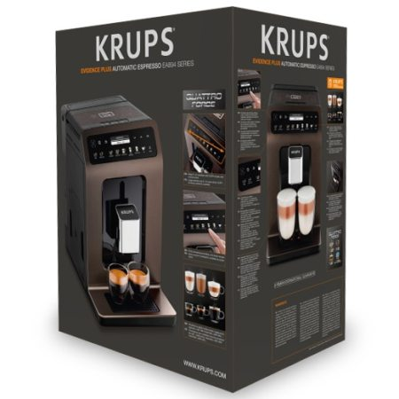 Espressor automat Krups EA894910 Evidence, 1450 W, 2.3 L, One-Touch-Cappuccino, 19 selectii, accesoriu pentru lapte, display Touch Screen, Maro