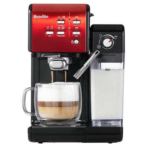 Espressor manual Breville VCF109X Prima Latte II, 19 bar, 1.5 L, recipient lapte 0.6 L, Rosu