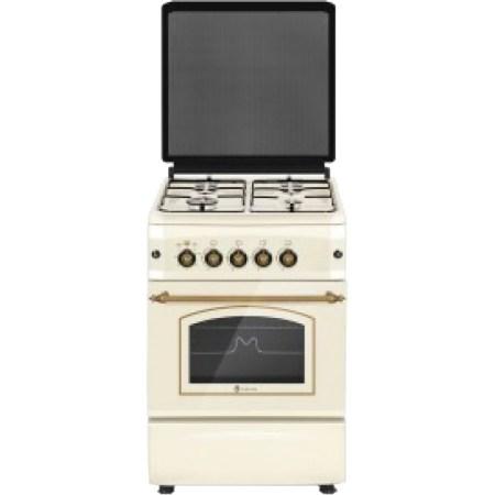 Aragaz Studio Casa CREMONA FE50/55G, Gaz, 4 arzatoare, Aprindere electrica plita si cuptor, Siguranta plita si cuptor, Grill, 50 cm, Bej