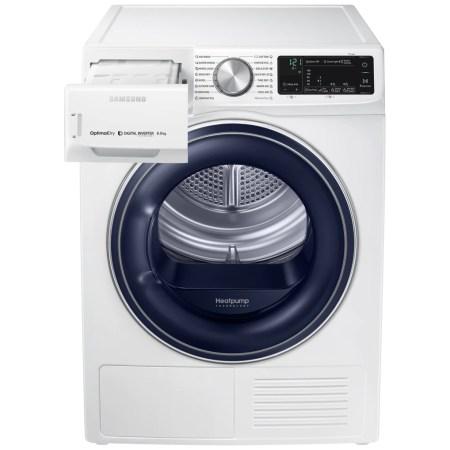 Uscator rufe Samsung DV80N62532W/LE, Pompa de caldura, 8kg, Optimal Dry System, Smart Control, Lumina interior, Usa reversibila, Clasa A+++, Alb