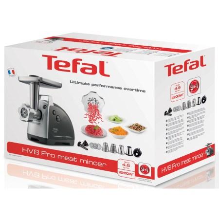 Masina de tocat carne TEFAL HV8 Plus 9 în 1 NE688830, 2200 W, 4.5kg, 9 accesorii, Negru/Inox