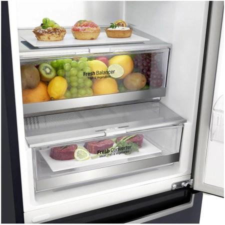 Combina frigorifica LG GBB92MCAXP, 384 l, Full NoFrost, Smart Diagnosis, WIFI, Compresor Centum System, Clasa A+++, H 203 cm, Negru
